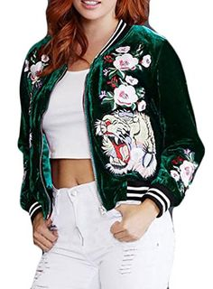 MS Mouse Womens Fashion Velvet Rose Embroidery Biker Quilted Bomber Flight Jacket