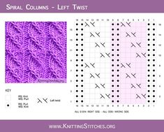 Spiral Columns pattern is created by twisting stitches, no cable needle is required. This is a very easy stitch to knit. Dishcloth Knitting Patterns, Knitting Stitches, Knit Patterns, Stitch Patterns, Knitting Abbreviations, Cable Knitting, Free Knitting, Cable Needle, Free Facebook Likes