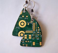 Girl Geekery Circuit Earrings  by Betsy Berberian  One of a kind earrings hand made from a computer circuit board. Playful gold design