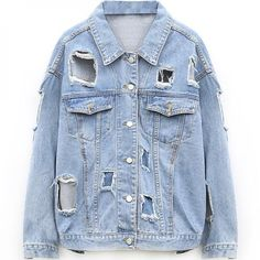 Kize2016 Women Denim Jacket Oversized Destroyed Casual Distressed... (26.140 CLP) ❤ liked on Polyvore featuring outerwear, coats, blue coat, oversized denim jacket, oversized coat, denim jacket and jean jacket