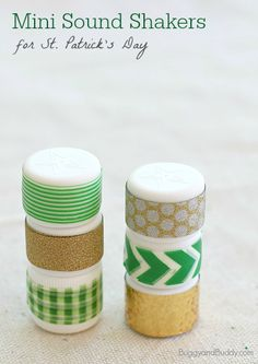 St. Patrick's Day Craft for Kids: Mini Sound Shakers (w/ a list of all kinds of sound activities do with them!)~ BuggyandBuddy.com