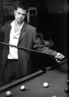 Brad Pitt, male actor, celeb, playing pool, hand, fingers, powerful face, intense, strong, portrait, photo b/w.