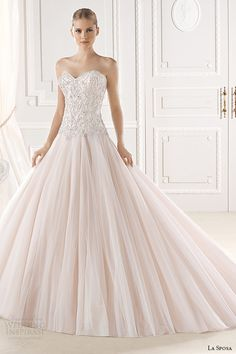 la sposa bridal 2015 wedding dress pink blush sweetheart neckline embellished bodice a line wedding dress eresa