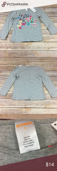 """Gymboree Life Is Sweet Holiday Candy Tee NEW NWT 4 Gymboree Life Is Sweet Holiday Candy Tee NEW NWT 4 Outlet item. New with tags. Says """"Life is Sweet"""" on the front and is new with tags. #lifeissweet #candy #new #nwt #longsleeves #tee #tshirt #gray Gymboree Shirts & Tops Tees - Long Sleeve"""
