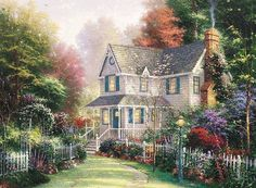 ART Kinkade    Peaceful Garden