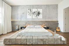 Design Detail  A Platform Bed Made Using Reclaimed Logs