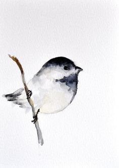 Chickadee ORIGINAL Watercolor bird painting/ by ArtCornerShop, $30.00 by Pikssik