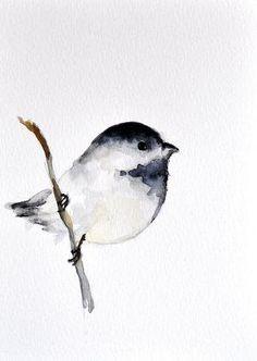 Chickadee ORIGINAL Watercolor bird painting/ by ArtCornerShop, $30.00 by Pikssik