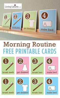 Kids Morning Routine Free Printable Flash Cards. Visuals to help kids be more responsible on their own. LivingLocurto.com