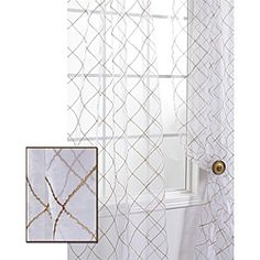 @Overstock - This beautiful, organza sheer curtain panel has a distinctive embroidered lattice pattern. This window panel creates a warm atmosphere with beautiful light diffusion.  http://www.overstock.com/Home-Garden/Lattice-White-Embroidered-Organza-108-inch-Sheer-Curtain-Panel/6220287/product.html?CID=214117 $36.19