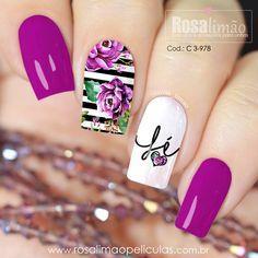 Novos modelos de películas com diversas estampas, tem pra todos os gostos 😍 Saiba valores, receba o catálogo completo e adquira pelo Whats App 📲 (17) 99601-7921 Ansiosas para mostrar todos os modelos pra vc! 😃 #nail #nailart #nailidea #nailinspiration #naildesign #nagel #nageldekoration #chiodo #clou #uña Nail Desighns, Pink Nails, My Nails, Manicure, Nail Mania, Nail Jewelry, Nail Art Videos, Stylish Nails, Nail Arts