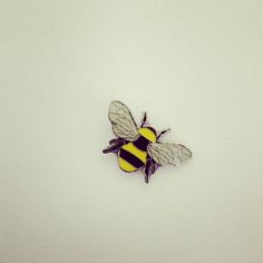 Bee Enamel Pin Badge in Yellow + Black Manchester Bee Beekeeper Pin - Manchester Worker Bee enamel pin badge in Yellow + Black + Grey Great lapel detail Metal pin badge - Manchester Worker Bee, Manchester Uk, Bee Company, Bee Happy, Cool Pins, Save The Bees, Metal Pins, Bijoux Diy, Pin And Patches