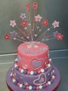 pink and purple cake with sparkly stars
