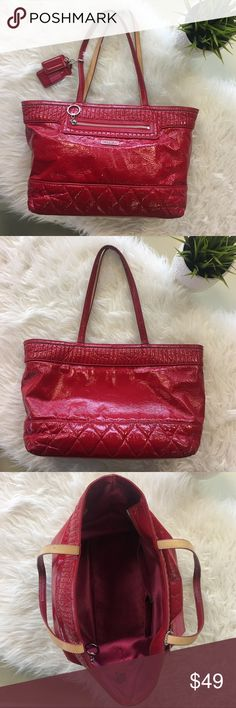 Coach Poppy Liquid Gloss Tote in Cherry Red Shiny red patent tote bag from Coach. Features quilted bottom, zipper pocket & two slip pockets within, and outer zipper pocket, and two hangtags. Well loved; the finish is cracked throughout, the stitching is coming loose in one spot, the handle edges are worn, spots on the lining, and there is a spot on one of the straps (pictured). Please carefully review each photo before purchase as they are the best descriptors of the item. My price is firm…