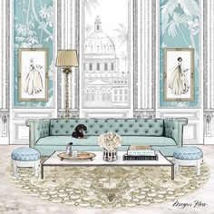 Megan Hess ( My illustration for the cover of ELLE DECORATION magazine. Soft pale blues, my gold Palazzo Jewels rug and 'Bonnie' the extra cute pooch on the sofa! Megan Hess Illustration, Illustration Art, Interior Design Sketches, Home Interior Design, Nordic Interior, Interior Livingroom, Diy Interior, Cafe Interior, Interior Doors