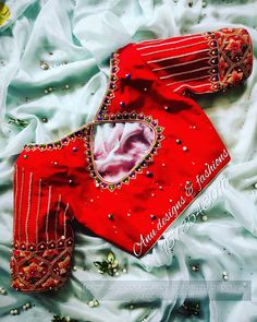Wedding Blouses, Wedding Saree Blouse Designs, Silk Saree Blouse Designs, Saree Blouse Patterns, Fancy Blouse Designs, Designer Blouse Patterns, Sewing Stitches, Embroidery Stitches, Hand Embroidery