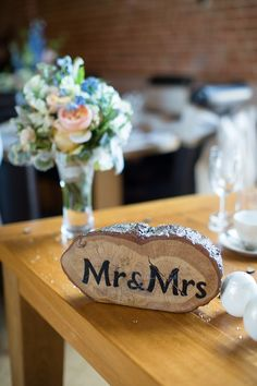 Mr Mrs Log Sign Natural Soft Stylish Luxe Wedding http://www.katherineashdown.co.uk/