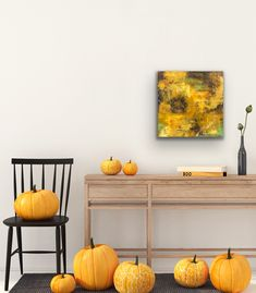 """'Endless Deep' is an abstract painting created oil & cold wax painting on birch panel measuring 24"""" x 24"""" x 1.5"""" deep. It is wired and ready to hang. . . . . . #liveboldly #artist #creative #colourfulart #interiordesign #iloveorange #ilovecolour #abstractart Halloween Poster, Halloween Quotes, Canvas Home, Leaf Art, Home Decor Wall Art, Framed Wall Art, Fall Decor, Poster Prints, Fox Nursery"""