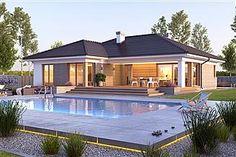 Modern Bungalow House Design, Bungalow House Plans, Classic House Exterior, Dream House Exterior, Pool House Plans, Best House Plans, Village House Design, Village Houses, Small Apartment Plans