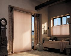 Hunter Douglas Duette with Vertiglide honeycomb shades orient the fabric vertically to beautify a variety of vertical expanses. Glass Door Curtains, Sliding Door Curtains, Sliding Door Window Treatments, Sliding Patio Doors, Sliding Glass Door, Glass Doors, Bead Curtains, Folding Doors, Hunter Douglas