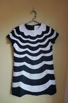 Karta Scalloped Black and White Mod Swing Dress Size S #Karta