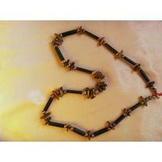 Green Bamboo & Unakite necklace, 63cm