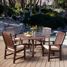 Java Brown Wood Outdoor Patio Furniture Dining Set – Seats 4