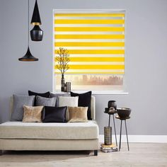 Louvolite - Our beautiful vision® blinds fit all interior decor. Vision® Capri Colour - Ocher Blinds by Louvolite® The Vision Collection's horizontal stripes effortlessly move from transparent to dim out or blackout. Interior Design Living Room, Living Room Designs, Interior Decorating, Perfect Fit Blinds, Service A Domicile, Night Blinds, Zebra Shades, Fitted Blinds, Electric Blinds