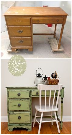 Salvaged Inspirations | Here is an outdated desk I restyled. It was painted in MMS Typewriter and Lucketts Green and then I distressed it by using the Vaseline Distressing Technique... worked like a charm! | Vaseline-Distressed-Desk-Before-&-After