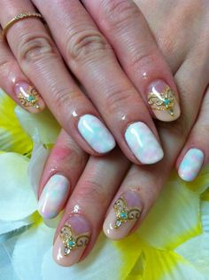 Tie Dye Nails with Embellished Accent Nails