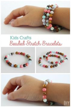 Kids Crafts Beaded Stretch Bracelets Tutorial is part of DIY Kids Crafts With Beads - These beaded stretch bracelets are such a great craft to do with your kids Fun, easy, and every bracelet they make will be a unique creation by them Making Bracelets With Beads, Kids Bracelets, Beaded Bracelets Tutorial, Stretch Bracelets, Bracelet Making, Jewelry Making, Handmade Bracelets, Colorful Bracelets, Bracelets Crafts