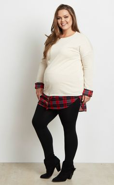 Get the preppy layered look without the hassle. This plaid shirttail plus maternity top does all the stylish work for you so all you have to do its style it with your favorite dark wash maternity skinny jeans and flats. This casual plaid shirttail plus maternity top is the perfect essential for the fall and winter season.