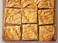 Ina Garten's French Apple Tart. Make with pre-made puff pastry. Also can make minis by cutting puff pastry beforehand...