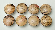 8 Vintage Script France Wooden Dresser Bedding Cordinate Drawer Knobs Pulls #whimzicality