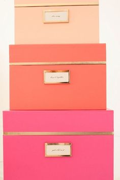 Neon and Gold Kate Spade New York Nesting Boxes…LOVE THEM! In stock at the shoppes at Ashley Carol Home Garden in Cornelius NC. 704 892 4743 ashleycarolhome@gmail.com
