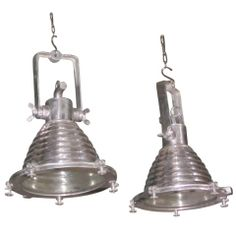 1940's French pair maritime ridged polished steel industrial lights www.balsamoantiques.com