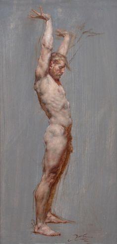 "Robert Liberace Figure Reaching Oil on canvas -2013 30.48 x 60.96 cm (12"" x 24"")"