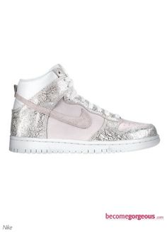 Nike Dunk High Top Silver Sneakers  <3 <3 <3
