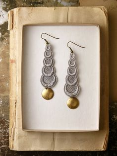 lace earrings -STACKED CIRCLES- pale grey. $22.00