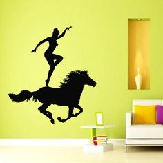 Wall Decals Vinyl Decal Sticker Art Mural Decor Animal Girl Riding A Horse Kj752 #CAT #MuralArtDecals
