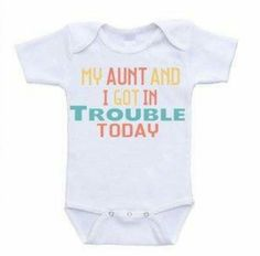 : My Aunt and I Got In Trouble Today I Love My Auntie Onesie Baby Bodysuit Rompers One Piece Online Clothing Shopping Months : Baby Baby Turban, Baby Outfits, Funny Babies, Cute Babies, Aunt Baby Clothes, Babies Clothes, Babies Stuff, Newborn Outfit, Baby Boys