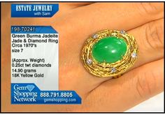 Burma jade set in a organic nest style ring studded with diamonds all in 18k yellow gold
