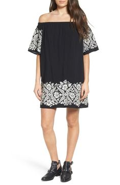 One Clothing Embroidered Off the Shoulder Dress available at #Nordstrom