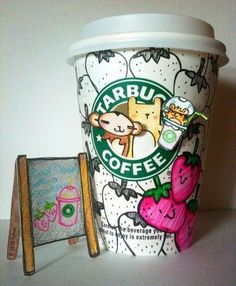 I decided I needed a Starbucks Page with this kind of crafting happening! Starbucks Cup Drawing, Starbucks Cup Design, Starbucks Art, Starbucks Drinks, Starbucks Coffee, I Love Coffee, My Coffee, Coffee Drinks, Food Truck
