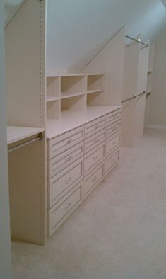 Closet with angled ceiling