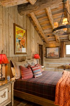 Mad for Plaid: 11 Decorating Ideas Warm Woolen Plaid Blankets on the Bed in a Cabin Style Bedroom Stylish Bedroom, Cozy Bedroom, Bedroom Decor, Bedroom Ideas, Master Bedroom, Bedroom Furniture, Bedroom Girls, Cabin Furniture, Western Furniture