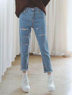 Blue,High Waist,Distressing,Loose Jeans