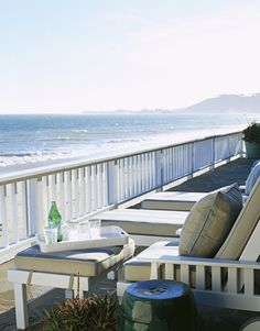 overlooking the Pacific Ocean --- chairs, chaises and ottoman are from Janus et Cie