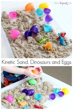 Playing with kinetic sand, dinosaurs and plastic eggs. A fun sensory activity that is great for developing fine motor skills!