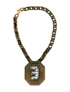 Lanvin brass with crystal Digit Necklace
